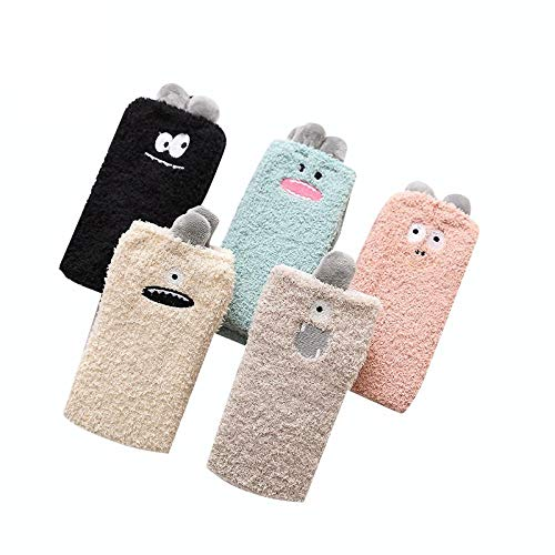 TIGERROSA 5 paar interessante Mädchen Korallen Socken Fabulous Elastic Home Frauen Mädchen weiches Bett Boden Socken flauschig warme Winter atmungsaktiv weiche Socken-5 color_One Größe