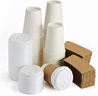 Eslite Hot Paper Coffee Cups with Lids and Sleeves,12 Ounce,50 Count,White