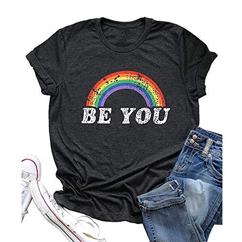 MIALIFEX top be You Letter Rainbow Print Camiseta de manga corta con cuello redondo