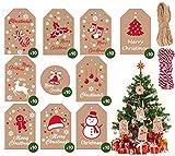 Geschenkanhänger für Weihnachten, 100Stk Xmas Braun Kraftpapier Etiketten Anhänger Christmas Tags...