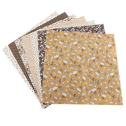 Lot De 7 Tissus En Coton Bricolage Carrés Motif Floral à Pois Assortis Prédécoupés Kit De Literie Quarters Bundle 50x50 cm ( Marron )