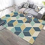 La Alfombra decoración para Dormitorio de bebé Fácil Limpio Azul Amarillo Verde geométrico diseño geométrico Puede ser Lavado Alfombra alfombras oficinas Sofa Salon 180X250CM