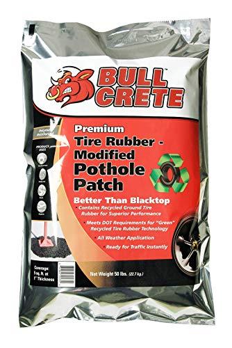 BullCrete Premium Tire Rubber Pothole Patch, Better Than Blacktop, for Home Driveways, Parking Lots, Roads, and More, 50lb Bag
