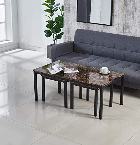 Marble Effect MDF Coffee Table(1), Coffee Table with x2 Side Table (2+1), Nest of 3 Table Sets, Available in Black, Brown & Grey, End Table, Side Table, Lamp Table (2+1, Brown)