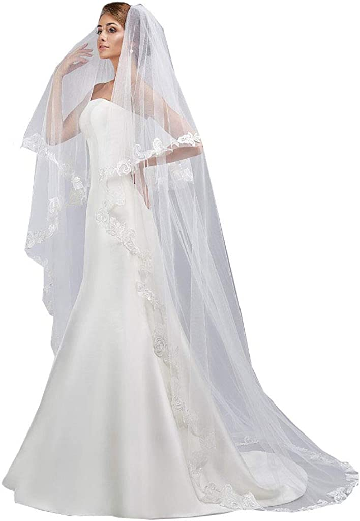Michealboy Wedding Veil Cathedral 2T White Wedding Veil with Comb