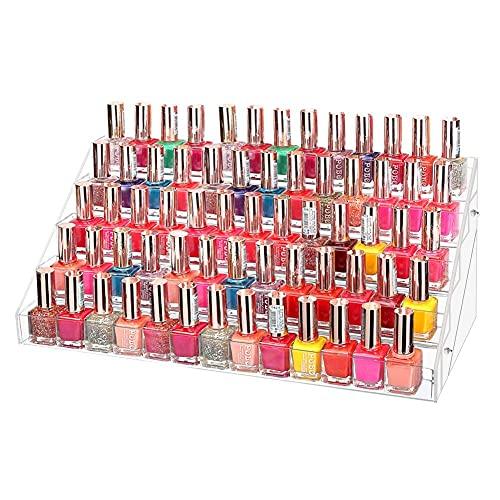 5 Filas Expositores de Esmaltes, Organizador Grande para Esmaltes de Uñas, Expositor de Cosméticos, Maquillaje Soporte Acrílico de Maquillaje y Esmalte de Uñas Expositor Especias Transparente
