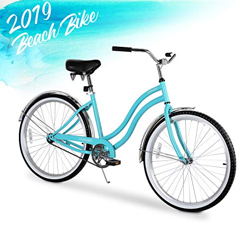 ENSTVER Urban Lady Beach Cruiser Bicycle (Teal Blue w/Black Seat/Grips, 26' / 1-Speed)