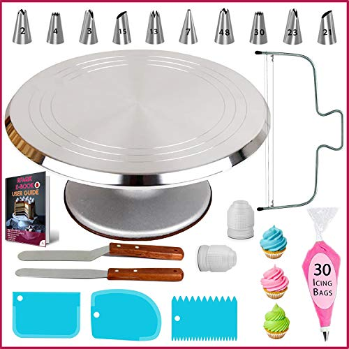 50 PCs Aluminum Cake Turntable Rotating Stand- Professional Cake Decorating Tools Kit with Straight & Offset Spatula- 7 Icing Tips and Bags for Decoration -Cake Leveler & EBook for Beginners