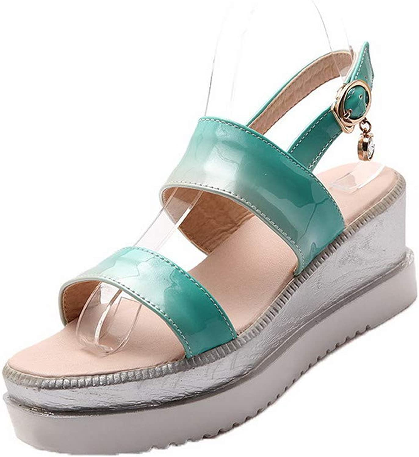 AmoonyFashion Women's Patent Leather Buckle Open-Toe Kitten-Heels Solid Sandals, BUTLT007398