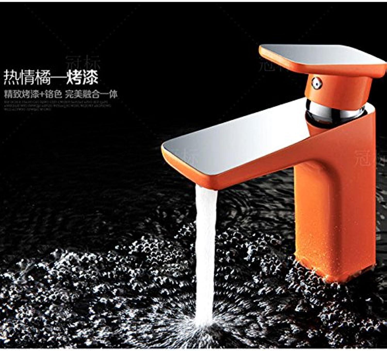 Gyps Faucet Waschtisch-Einhebelmischer Waschtischarmatur BadarmaturRetro Antik Wasserhahn Warmes und Kaltes Voll Kupfer Gold tippt auf Dem Waschbecken, Waschtisch Armatur Warmes Orange,Mischbatteri