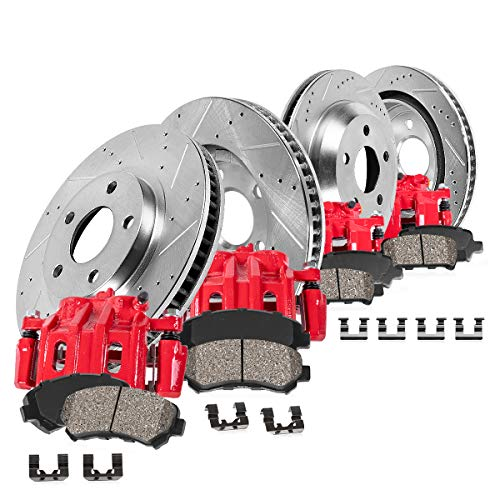 Callahan CCK12567 FRONT + REAR [4] Rotors + [4] Powder Coated Red Calipers + Quiet Low Dust [8] Ceramic Pads Performance Kit