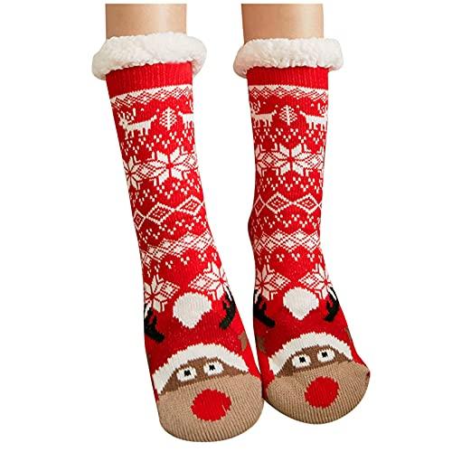 1 Paar Hohe Socken Schwarz Weihnachten Drucken Strümpfe Damen Sexy Socken Damen Lustig Socken Damen Warm Kuschelig Lang Rot Damen Winter Nette Plüsch Weihnachtsdruck Socken Super Weiche Warme Socken