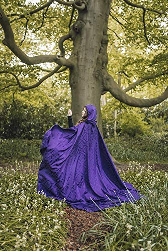 Purple Fantasy Medieval cloak damasc with hood long wedding cape Celtic Woodland