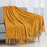 PAVILIA Chenille Tassel Fringe Throw Blanket | Velvety Texture Decorative Throw for Sofa Couch Bed | Soft Silky Cozy Lightweight Knitted Throw | Mustard Yellow 50 x 60 Inches