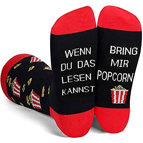 Dealswin Lustiges Socken Neuheit Geschenk Snack Geschenke: Wenn Du das Lesen Kannst Socken, bring mir Popcorn Socke für Datum,Freund,Party, Baumwollsocken mit Motiv