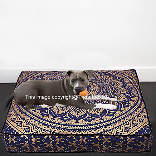 "The Art Box Indian Ombre Mandala Floor Pillow Square Ottoman Pouf Daybed Oversized Cushion Cover Cotton Seating Ottoman Poufs Dog/Pets Bed 35"" (Cover + Insert)"