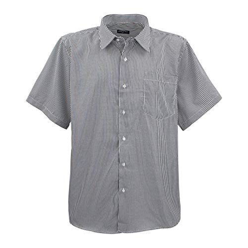Lavecchia Schwarz-weiß gestreiftes Kurzarm Hemd Männer in Übergrößen bis 7XL, Größe:3XL