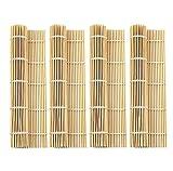 MOOZON Natural Bamboo Sushi Rolling Mat, 9.5x9.5 Inch, 4 PCS SET