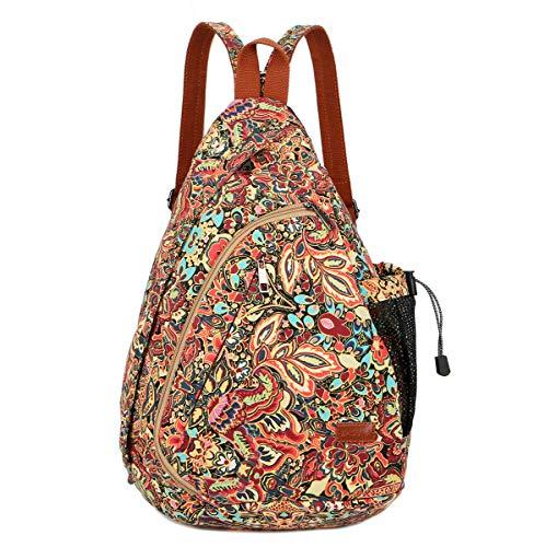 BAOSHA XB-04 Sling Bag Rucksack Damen Schulterrucksack Umhängetasche Crossbag Verstellbarem Schultergurt für Wandern, Radfahren, Reisen (Blumendrucke CS:reißverschluss Schultergurt)