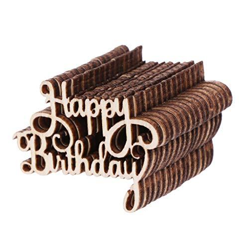 PT-KMKMING - Confeti de madera para mesa con texto 'Happy Bithday' (15 unidades)