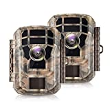 【2 Pack 】 Campark Mini Trail Camera 16MP 1080P HD Game Camera Waterproof Wildlife Scouting...