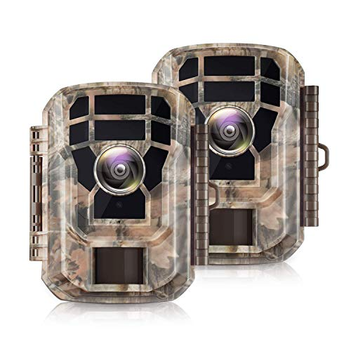 "【2 Pack 】 Campark Mini Trail Camera 16MP 1080P HD Game Camera Waterproof Wildlife Scouting Hunting Cam with 120° Wide Angle Lens and Night Vision 2.0"" LCD IR LEDs"