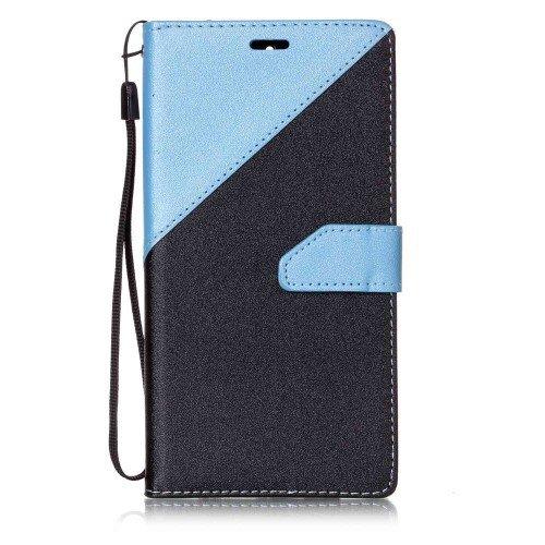 jbTec® Flip Hülle Handy-Hülle passend für Huawei Mate 9 / MHA-L09 - Book ZWEIFARBIG - Handy-Tasche Schutz-Hülle Cover Handyhülle Ständer Bookstyle Booklet, Farbe:Blau