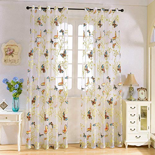 """WINYY Butterfly Curtain for Window Plant Sheer Curtain for Living Room Grommets Eyelets Top Voile Room Divider Decorative Gauze Yarn Tulle for Sliding Glass Door 1 Panel (52"""" W x 63"""" L)"""