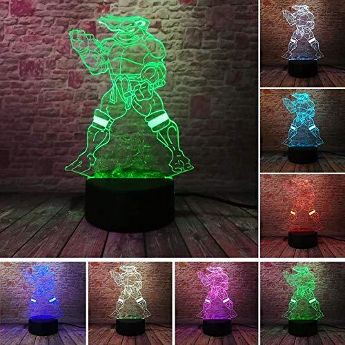 Lumière Ambiante, Mutant Ninja Turtles 7 Couleurs Gradient Dimming USB tactile visuel Veilleuse Illusion Chambre Home Décor enfant enfants Noël jouets cadeaux Lumière d'ambiance