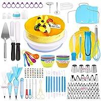 OMEW - Vassoio girevole per torta, kit da pasticceria, 325 pezzi, decorazione professionale, kit per glassatura decorativa, tasche a bussola, spatole e corna ecc. Un regalo geniale