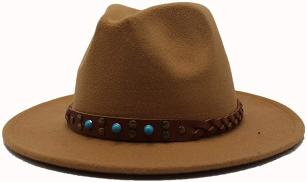 L.W.SUSL Men Women Wool Fedora Hat with Belt Church Hat Wool Trilby Jazz Hat Cloche Casual Wild Fascinator Hat
