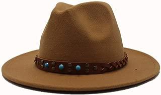 WUNONG-AU 2019 Men's and Women's Autumn and Winter Fedora Hat Couple Dating Outdoor Humboldt Travel Woolen Hat Wide Side Jazz Cap. (Color : Khaki, Size : 56-58)