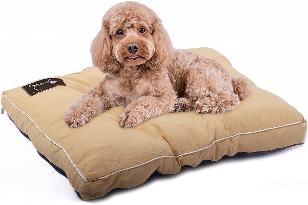 Petaccom-petking Cama para Perro Grande - Colchón para Mascotas Extraíble y Lavable Cojín Perro Suave y Antideslizante, Beige, L, 98 x 68 x 15 cm