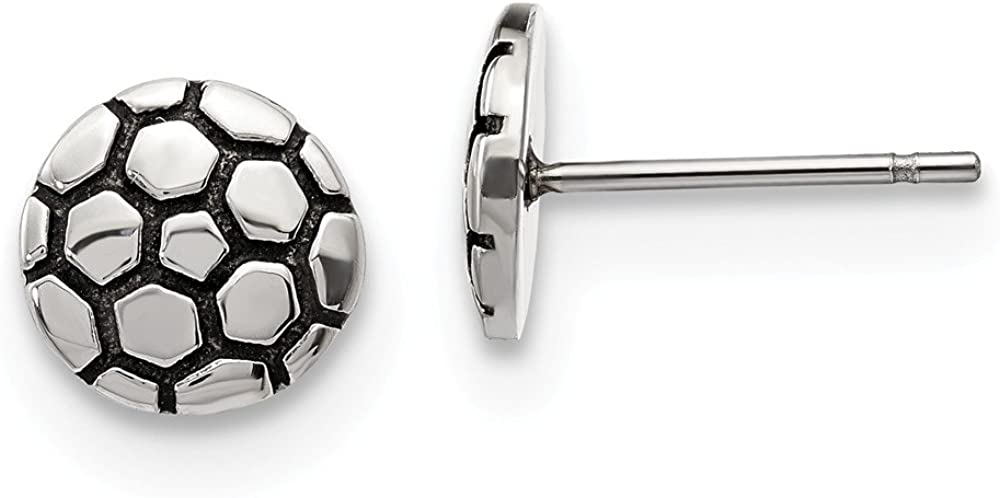 Solid Stainless Steel Vintage Antiqued and Soccer Ball Post Studs Earrings - 9mm x 9mm