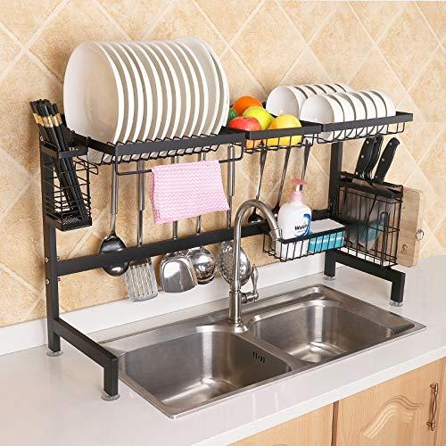 Utensilios de Cocina Cesta de Frutas Cuchillo Cepillo Fregadero de Almacenamiento en Rack apoyacucharas Bloque Que Taja de Palillos Utensilios Organizador, Mantener la Cocina ordenada, Monsteramy