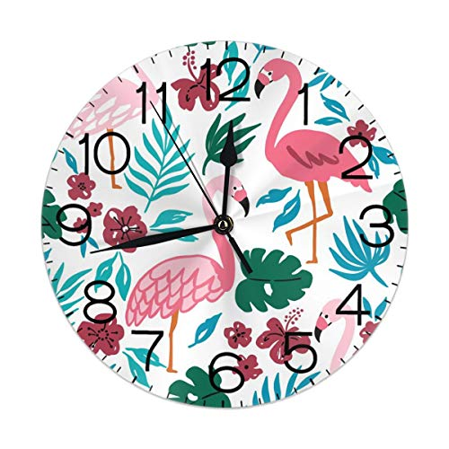 Dujiea Flamingo Banana Palm Leaf Round Wall Clock Silent Non Ticking Battery Operated 9.5 Inch for Student Office School Home Decorative Clock Art