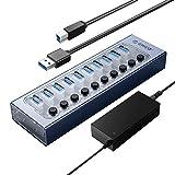 【10 porte USB 3.0】 L'hub USB 3.0 a 10 porte ORICO offre un trasferimento dati ad alta velocità a 5 Gbit / s ed è retrocompatibile con USB 2.0 / 1.1. Ha anche i protocolli di ricarica BC1.2 che possono essere utilizzati per caricare dispositivi che co...