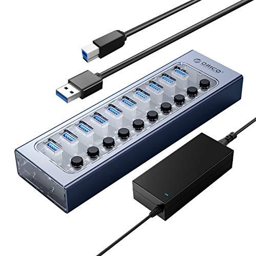 ORICO Hub USB Alimentato Alluminio + PC 10 Porte Hub Dati USB 3.0 da 48 W con Ricarica BC1.2, Interruttore on / off Individuale e Alimentatore 12V / 4A per PC, iMac, Disco Rigido Mobile, unità Flash