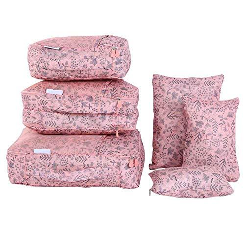 Boaby Bolsa de Almacenamiento de Ropa de Viaje 6 Piezas Bolsas de Almacenamiento de Ropa de Viaje Impermeables Organizador de Equipaje Bolsas de Embalaje de Viaje(Pink)