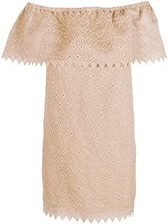 Rosey Nude Pink Off-The-Shoulder Eyelet-Detail Dress XL