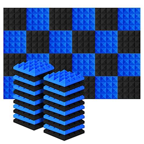 AGPtEK Schalldämmende Polsterung 24 Stück Schaumstoff-Dämmplatten 25 x 25 x 5 cm Akustikschaumstoff Blau und Schwarz Ideal für Tonstudio, Fernsehzimmer, Kinderzimmer, Büro und Podcast Aufnahmen