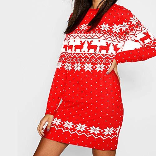 Wjf Casual Siamese bedrukte jurk van Kerstvrouwen dunne lange mouwen volwassenen kostuum