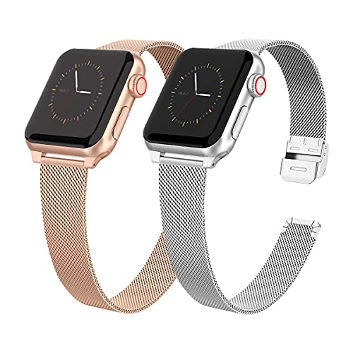 2 Pack Slim Metal Watch Band Compatible with iWatch Band 38mm 40mm for Women Girls, Stainless Steel Mesh Strap Replacement for iWatch SE iwatch Series 6/5/4/3/2/1 (Silver and Rose Gold)