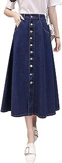 QZUnique Maxi Button Up A-line Jean Skirt Casual High Waist Long Denim Skirt