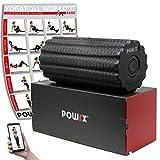 POWRX Vibrationsrolle mit Tasche & Workout I Faszienrolle mit Tiefenvibration I Vibrationsrollen mit 4 Stufen (Schwarz)