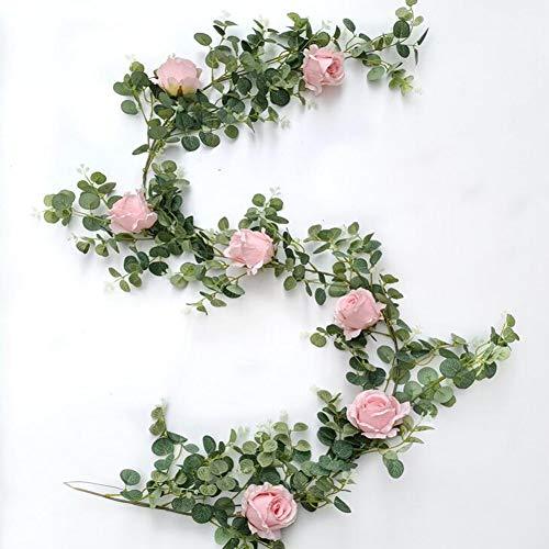 Queta Künstlich Eukalyptus Pflanzengirlande mit Pink Rose Künstliche Pflanze Eukalyptus Blätter Blumen Girlande Deko Eukalyptus Kranz Kunstpflanze Hochzeit Party Home Küchen Garten Büro Wanddekoration