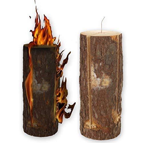 EG Homewares 50cm Wooden Swedish Fire Log Candle Torch Garden Lantern Campfire Light BBQ