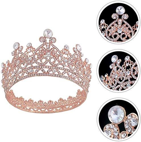 WLYX Strass-Krone, die Braut Krone Haar-Stück reizende Kopfbedeckung Hochzeit Kopfbedeckung Zierde for Bridemade Girl Party (Size : Rose Gold)