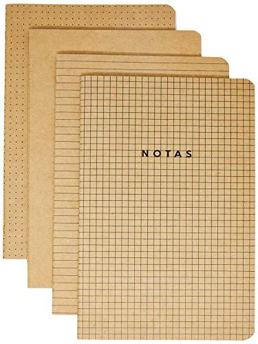 Kit 4 Cadernetas Costuradas Notas Mix, Cicero, 3725, Bege