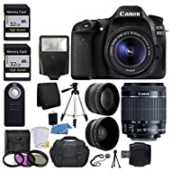 Canon EOS 80D Digital SLR Camera with 18-55mm EF-S f/3.5-5.6 is II Lens + 58mm Wide Angle Lens + 2X Telephoto Lens + Flash + 48GB SD Memory Card + UV Filter Kit + Tripod + Full Accessory Bundle